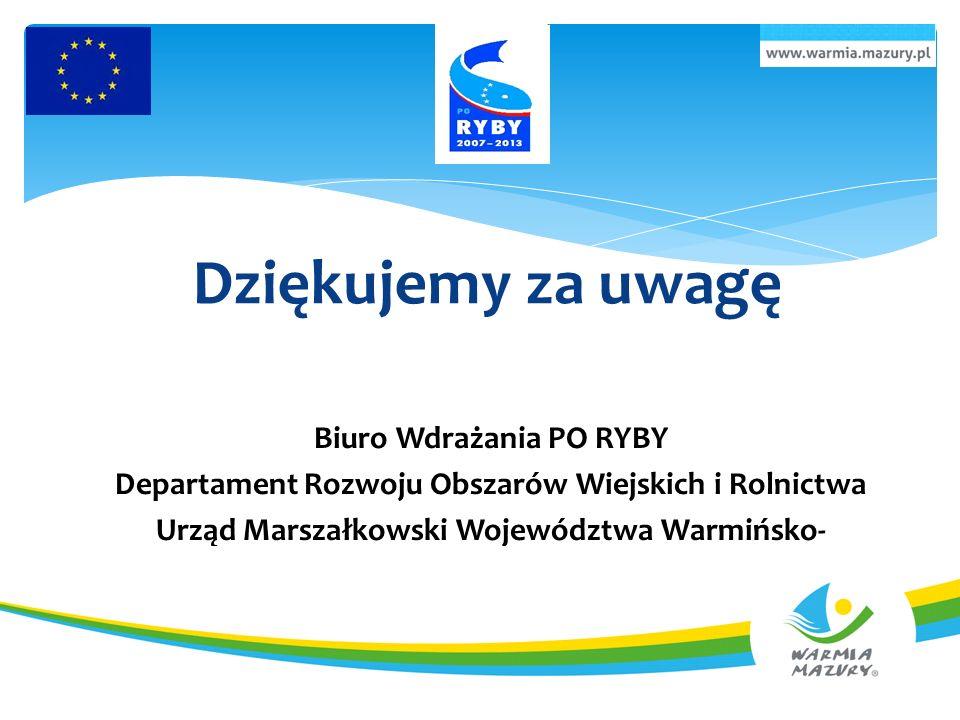 Dziękujemy za uwagę Biuro Wdrażania PO RYBY