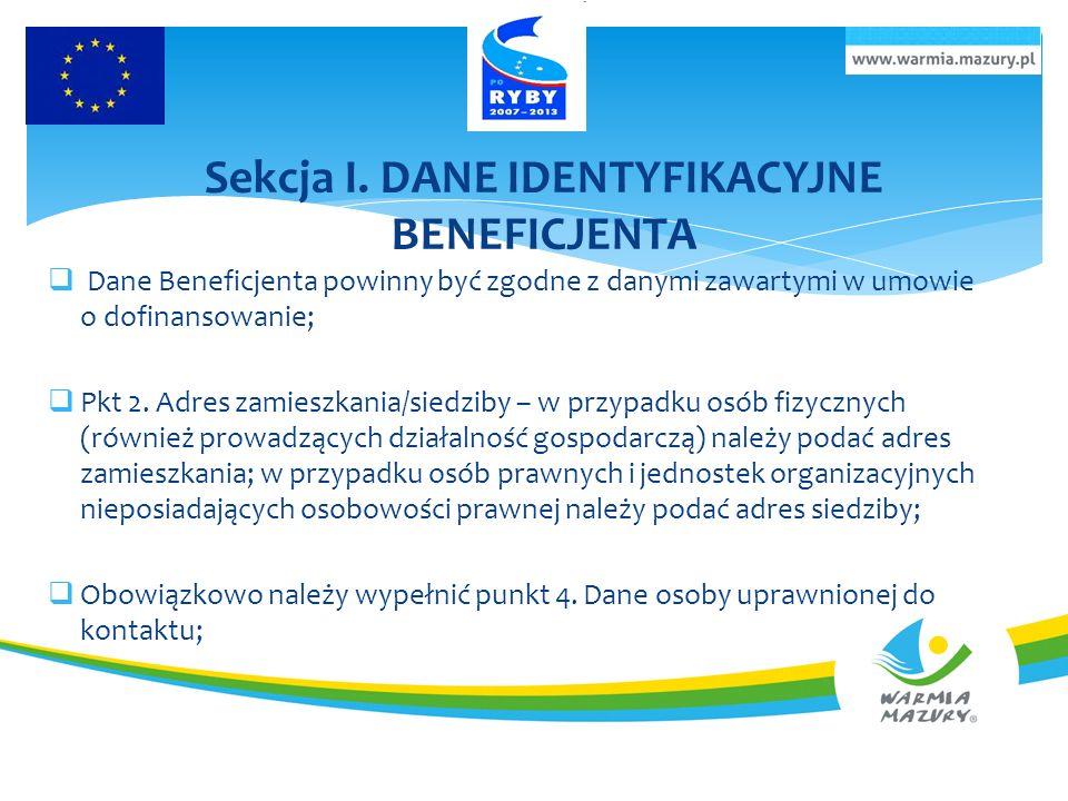 Sekcja I. DANE IDENTYFIKACYJNE BENEFICJENTA