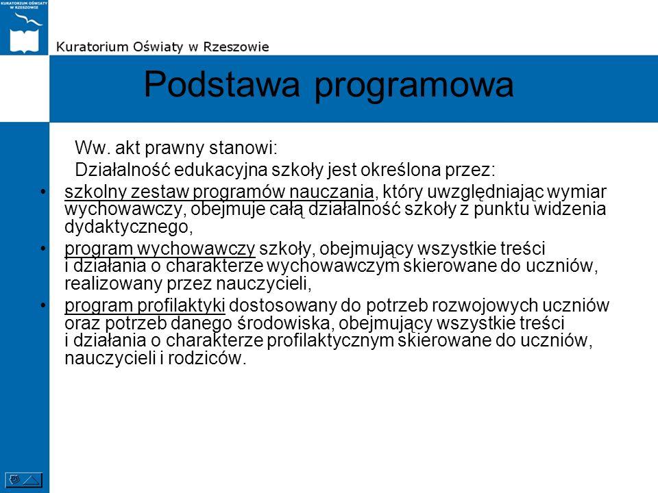 Podstawa programowa Ww. akt prawny stanowi: