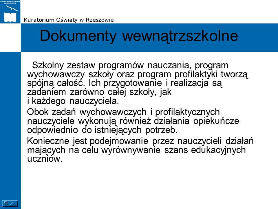 Dokumenty wewnątrzszkolne