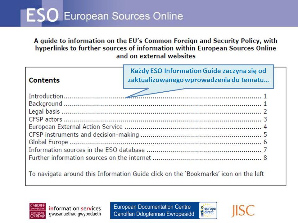 Każdy ESO Information Guide zaczyna się od zaktualizowanego wprowadzenia do tematu…