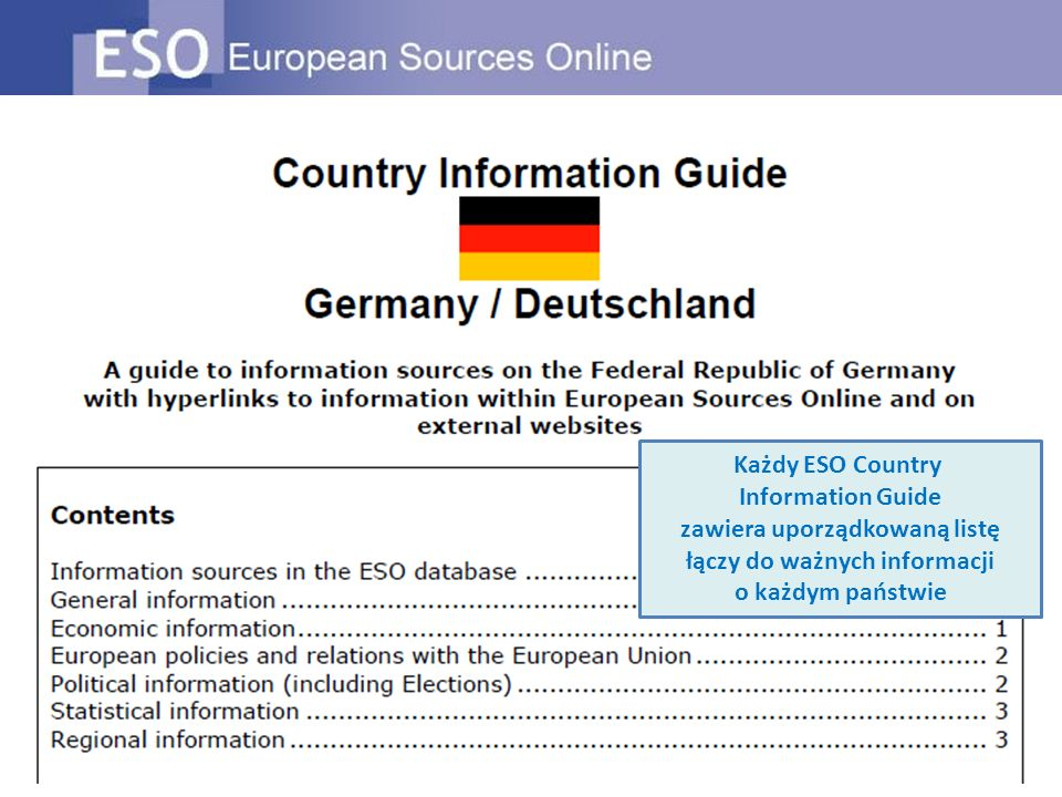 Każdy ESO Country Information Guide