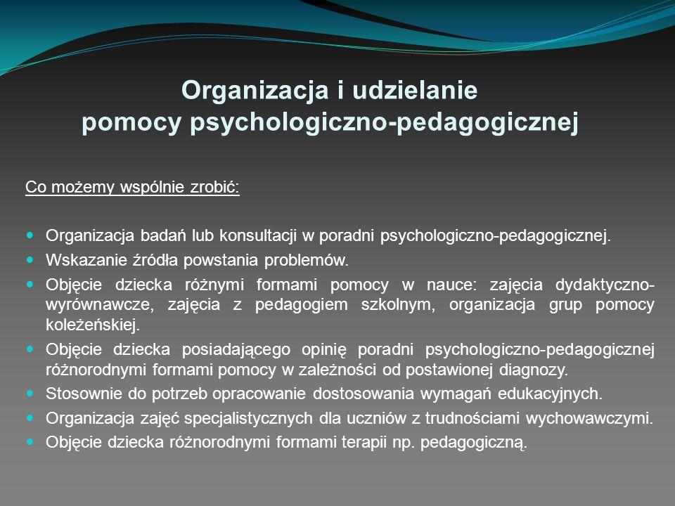 Organizacja i udzielanie pomocy psychologiczno-pedagogicznej