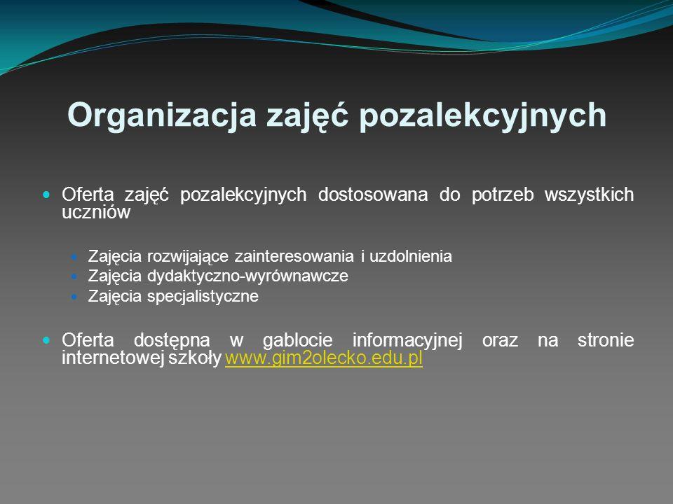 Organizacja zajęć pozalekcyjnych