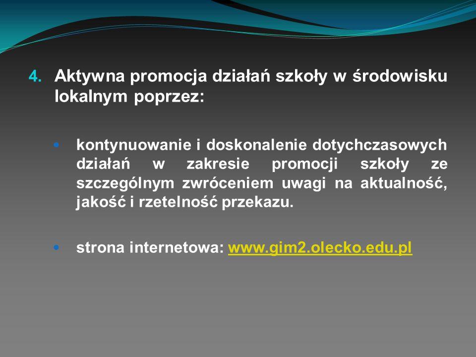 Aktywna promocja działań szkoły w środowisku lokalnym poprzez: