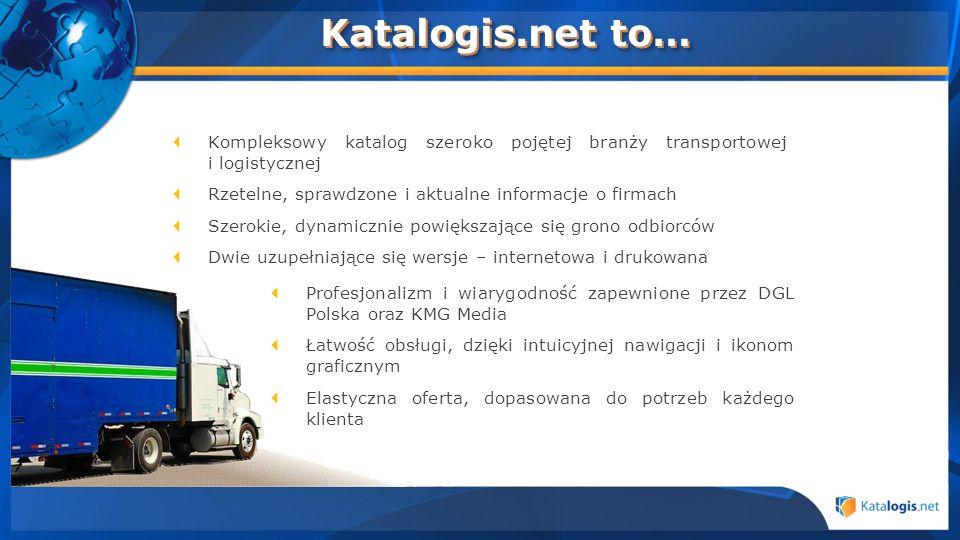 Katalogis.net to… Kompleksowy katalog szeroko pojętej branży transportowej i logistycznej. Rzetelne, sprawdzone i aktualne informacje o firmach.
