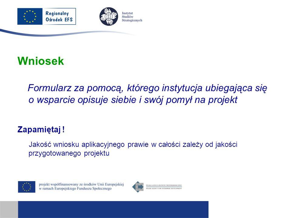 WniosekFormularz za pomocą, którego instytucja ubiegająca się o wsparcie opisuje siebie i swój pomył na projekt.