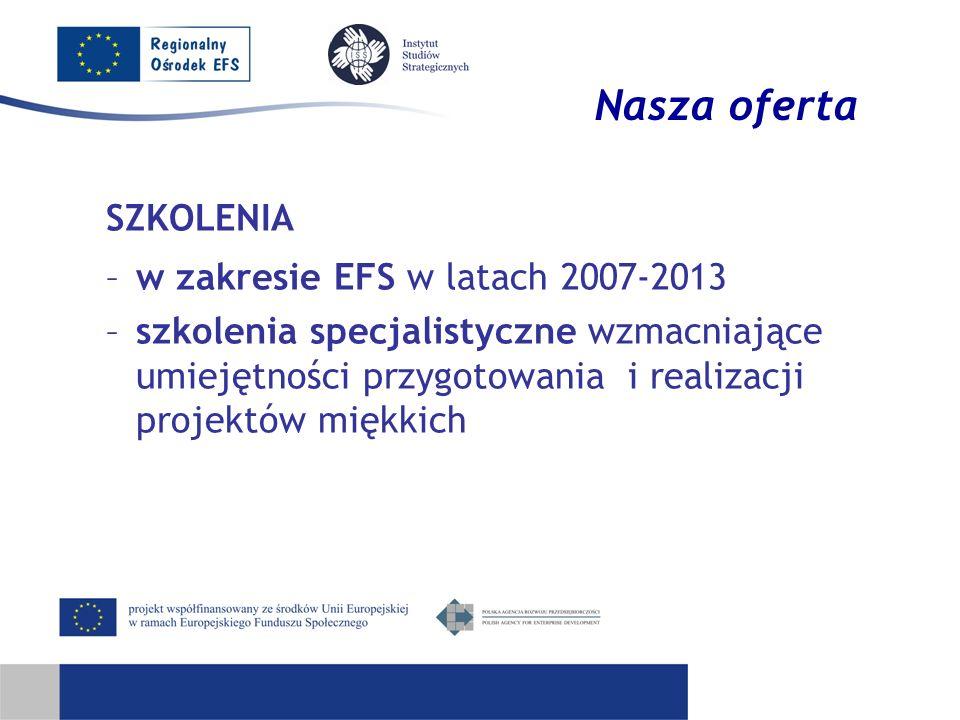 Nasza oferta SZKOLENIA w zakresie EFS w latach 2007-2013