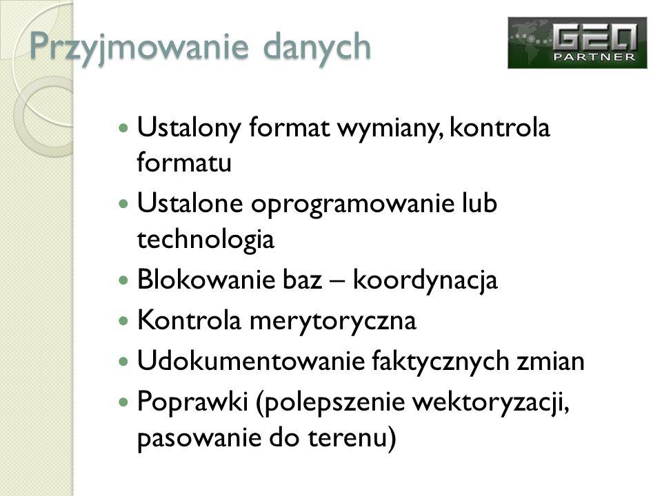 Przyjmowanie danych Ustalony format wymiany, kontrola formatu