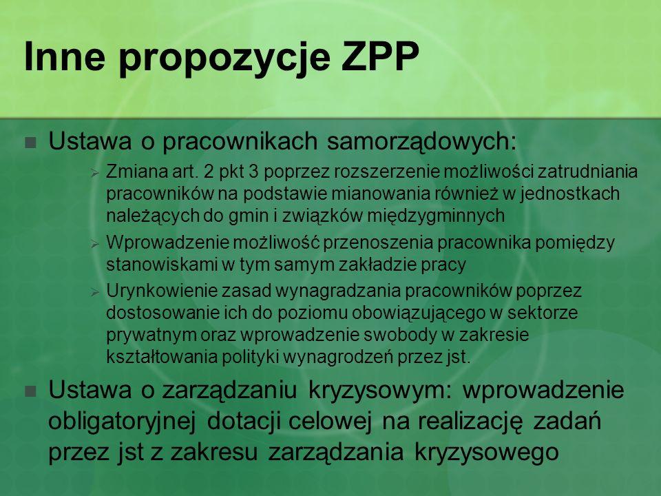 Inne propozycje ZPP Ustawa o pracownikach samorządowych: