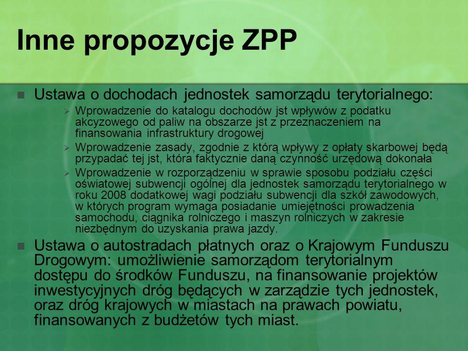 Inne propozycje ZPP Ustawa o dochodach jednostek samorządu terytorialnego: