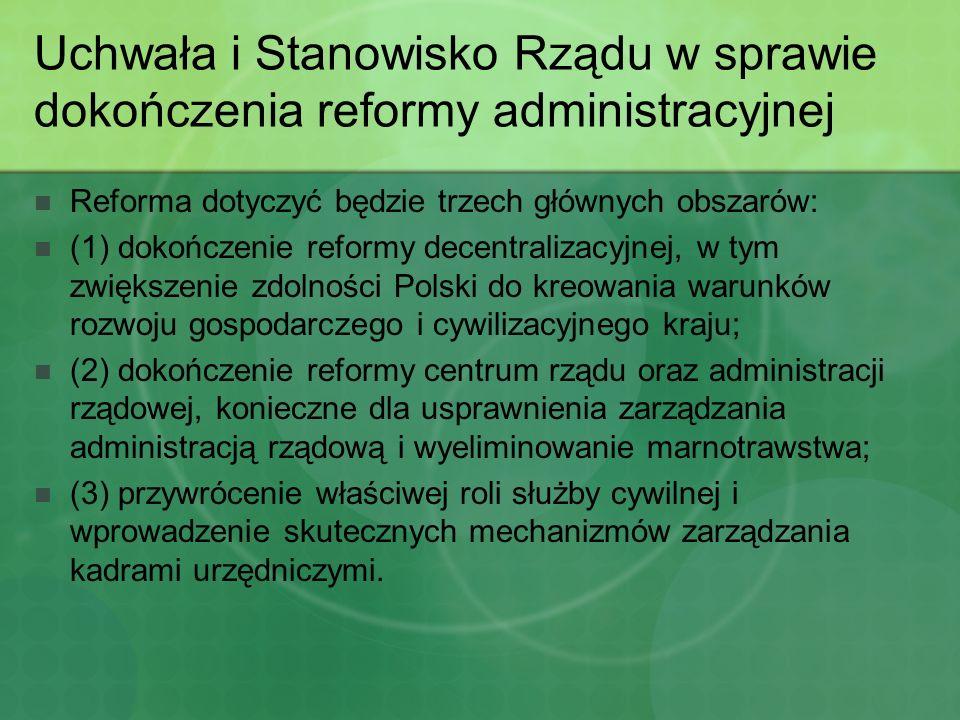 Uchwała i Stanowisko Rządu w sprawie dokończenia reformy administracyjnej