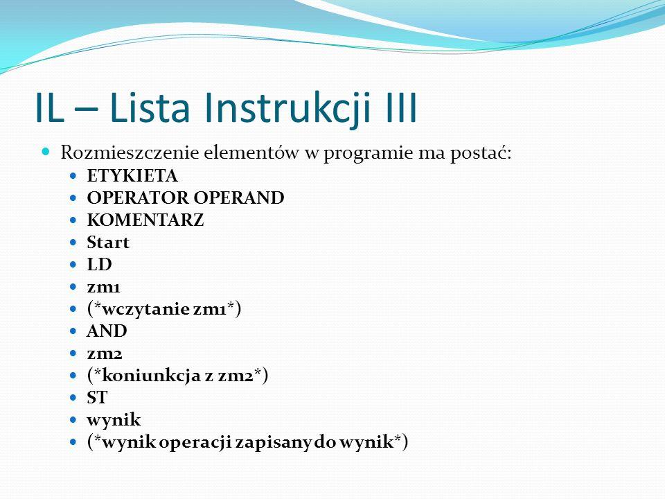 IL – Lista Instrukcji III