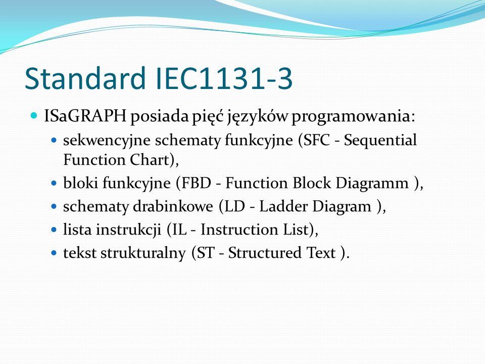 Standard IEC1131-3 ISaGRAPH posiada pięć języków programowania: