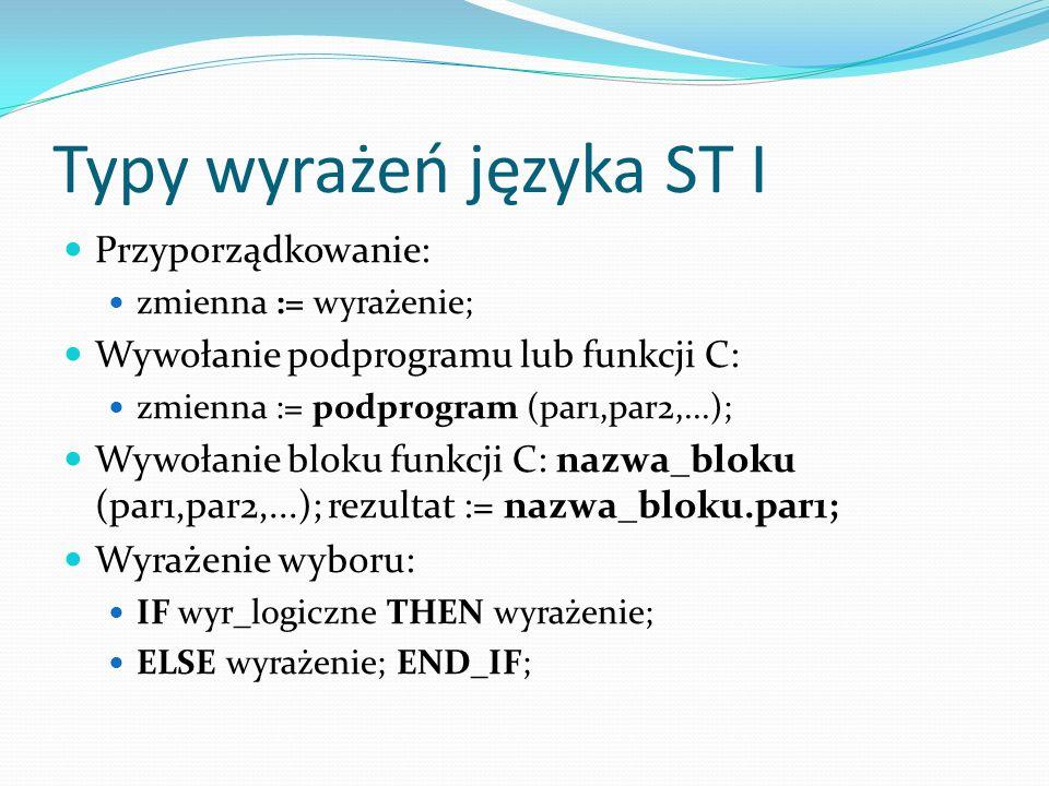 Typy wyrażeń języka ST I