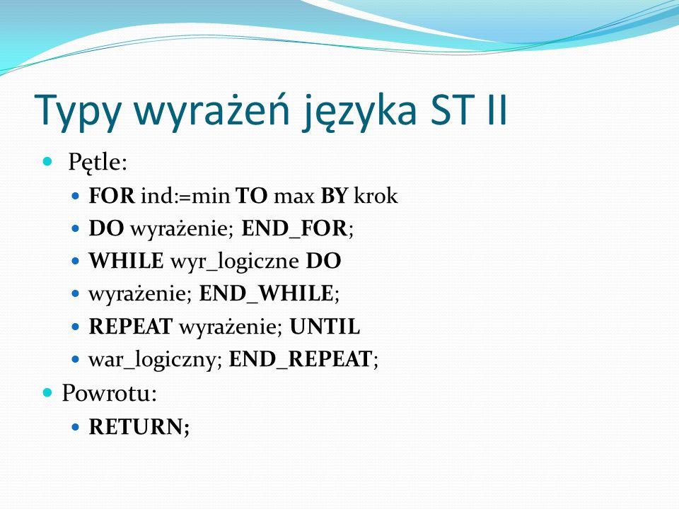 Typy wyrażeń języka ST II