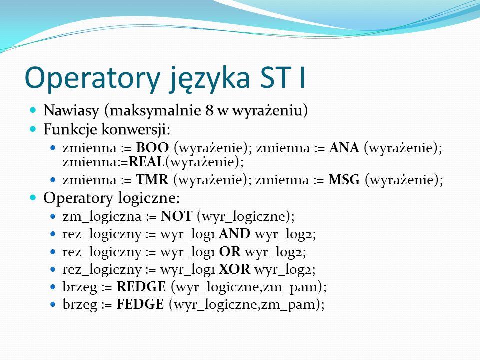 Operatory języka ST I Nawiasy (maksymalnie 8 w wyrażeniu)