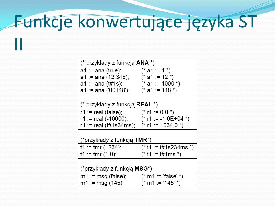 Funkcje konwertujące języka ST II