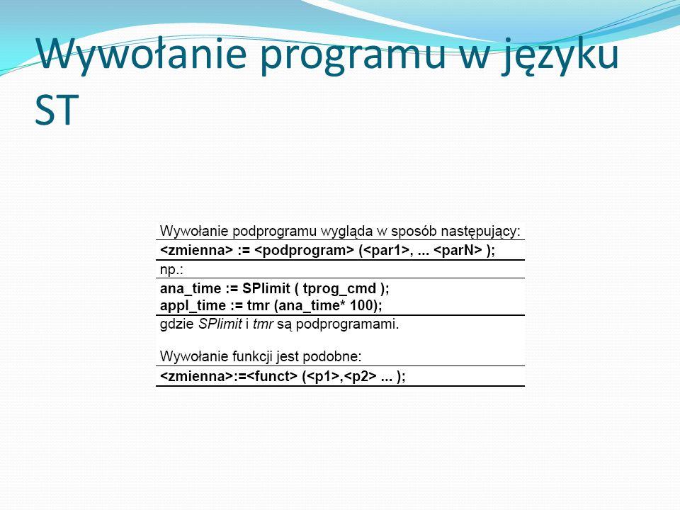 Wywołanie programu w języku ST