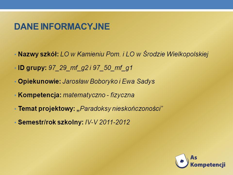 Dane INFORMACYJNE Nazwy szkół: LO w Kamieniu Pom. i LO w Środzie Wielkopolskiej. ID grupy: 97_29_mf_g2 i 97_50_mf_g1.