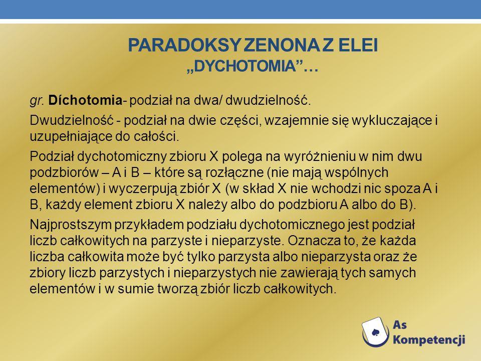 "Paradoksy Zenona z Elei ""dychotomia …"