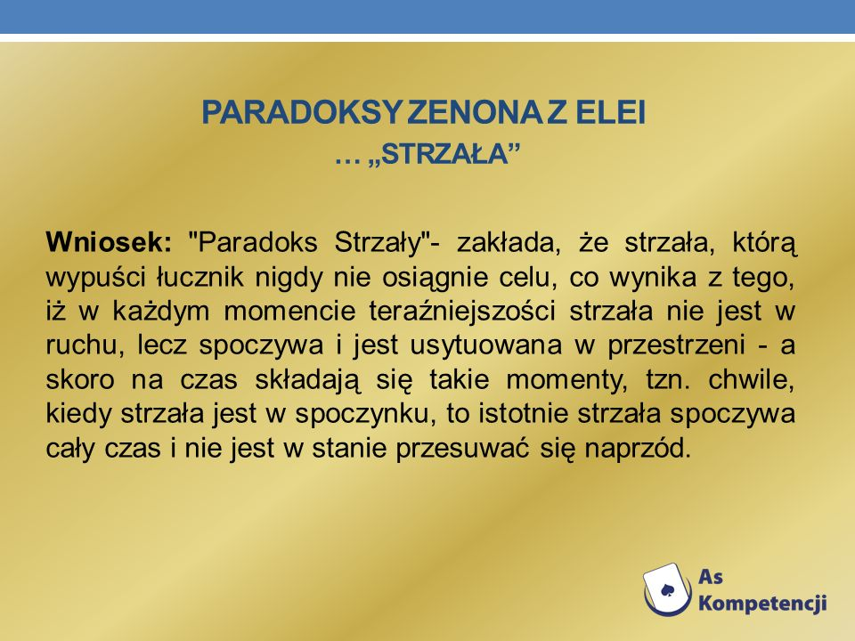 """Paradoksy Zenona z Elei … """"Strzała"""