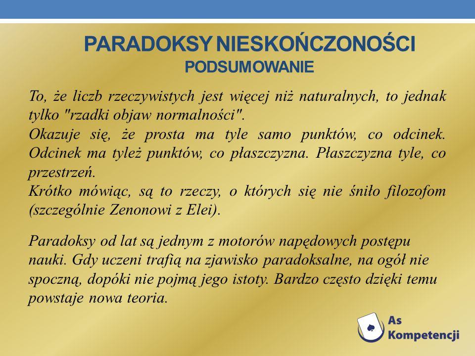 Paradoksy nieskończoności podsumowanie