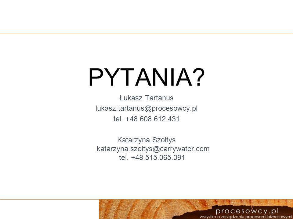 PYTANIA Łukasz Tartanus lukasz.tartanus@procesowcy.pl