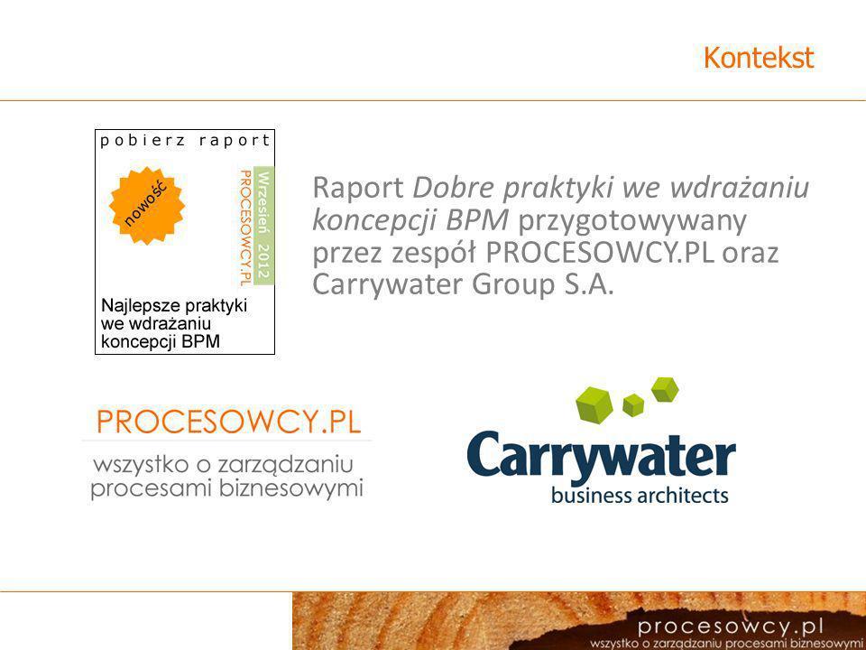 KontekstRaport Dobre praktyki we wdrażaniu koncepcji BPM przygotowywany przez zespół PROCESOWCY.PL oraz Carrywater Group S.A.
