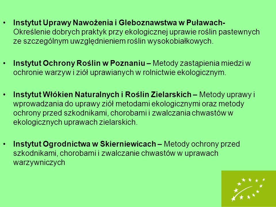 Instytut Uprawy Nawożenia i Gleboznawstwa w Puławach- Określenie dobrych praktyk przy ekologicznej uprawie roślin pastewnych ze szczególnym uwzględnieniem roślin wysokobiałkowych.