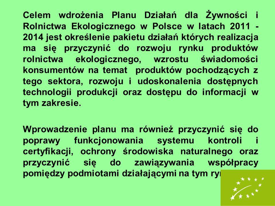 Celem wdrożenia Planu Działań dla Żywności i Rolnictwa Ekologicznego w Polsce w latach 2011 -2014 jest określenie pakietu działań których realizacja ma się przyczynić do rozwoju rynku produktów rolnictwa ekologicznego, wzrostu świadomości konsumentów na temat produktów pochodzących z tego sektora, rozwoju i udoskonalenia dostępnych technologii produkcji oraz dostępu do informacji w tym zakresie.
