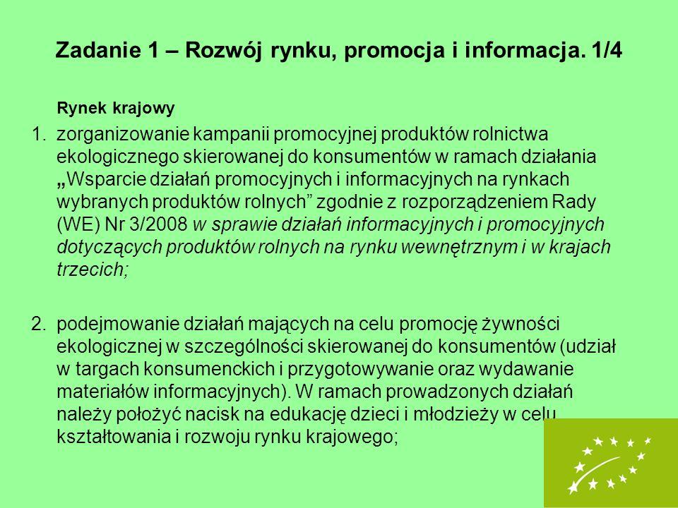 Zadanie 1 – Rozwój rynku, promocja i informacja. 1/4