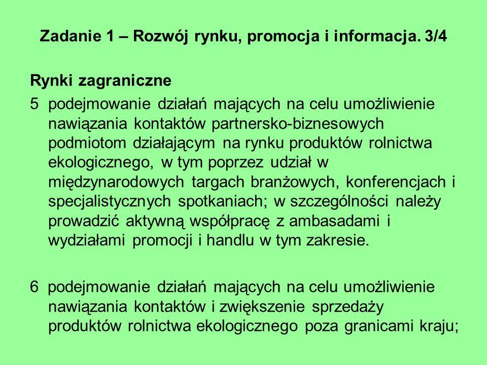 Zadanie 1 – Rozwój rynku, promocja i informacja. 3/4