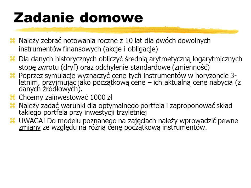 Zadanie domoweNależy zebrać notowania roczne z 10 lat dla dwóch dowolnych instrumentów finansowych (akcje i obligacje)
