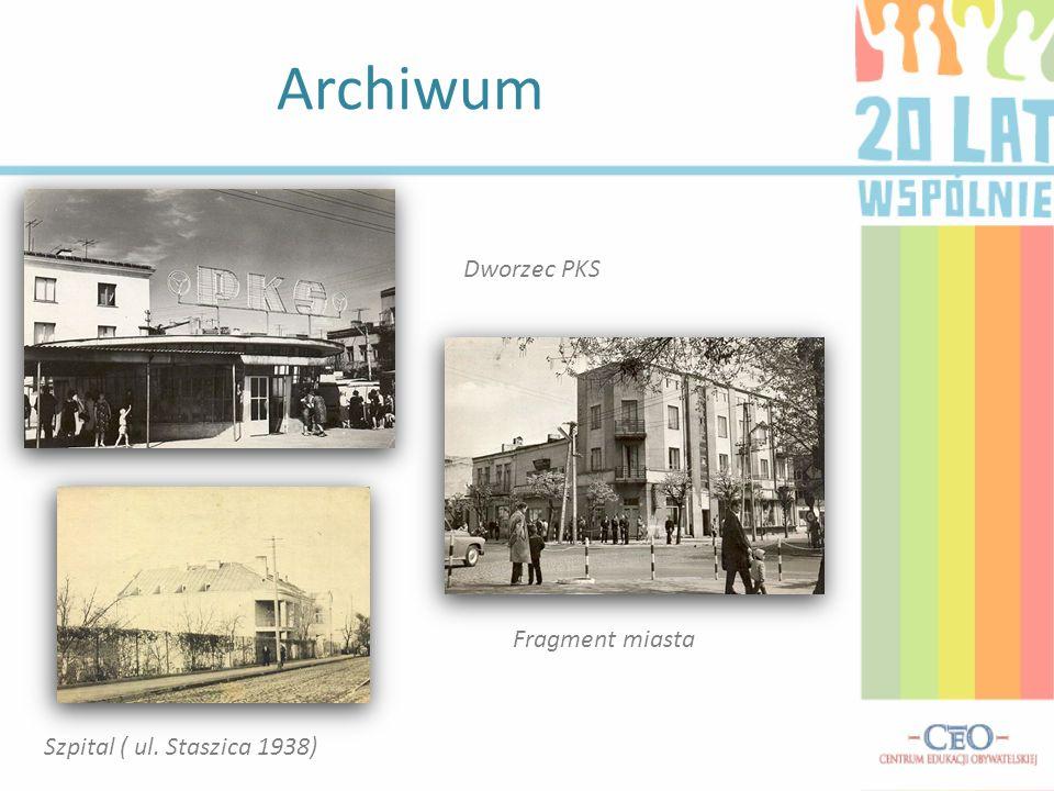 Archiwum Dworzec PKS Fragment miasta Szpital ( ul. Staszica 1938)