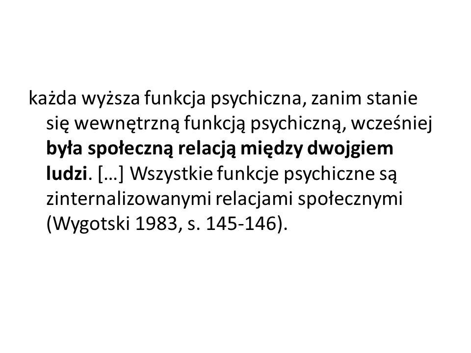 każda wyższa funkcja psychiczna, zanim stanie się wewnętrzną funkcją psychiczną, wcześniej była społeczną relacją między dwojgiem ludzi.