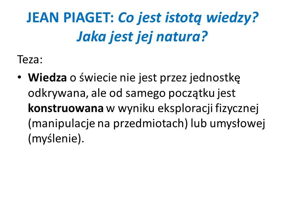 JEAN PIAGET: Co jest istotą wiedzy Jaka jest jej natura