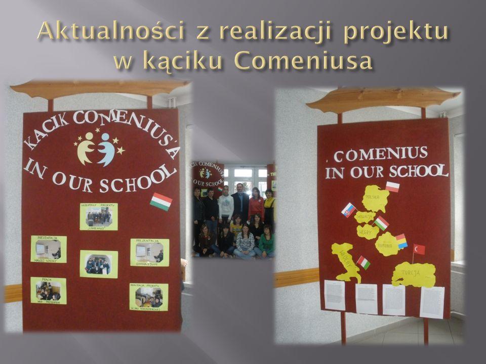 Aktualności z realizacji projektu w kąciku Comeniusa