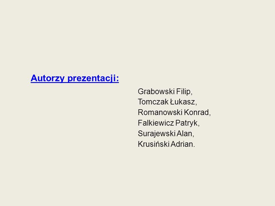 Autorzy prezentacji: Grabowski Filip, Tomczak Łukasz, Romanowski Konrad, Falkiewicz Patryk, Surajewski Alan, Krusiński Adrian.
