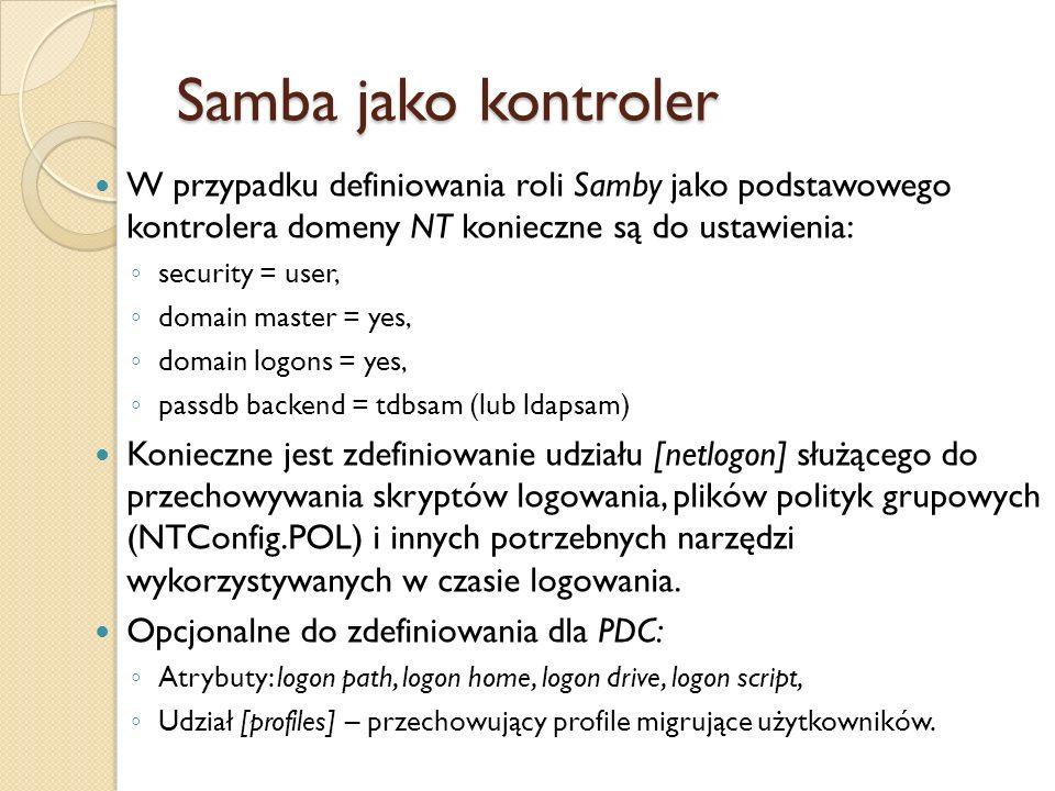 Samba jako kontrolerW przypadku definiowania roli Samby jako podstawowego kontrolera domeny NT konieczne są do ustawienia: