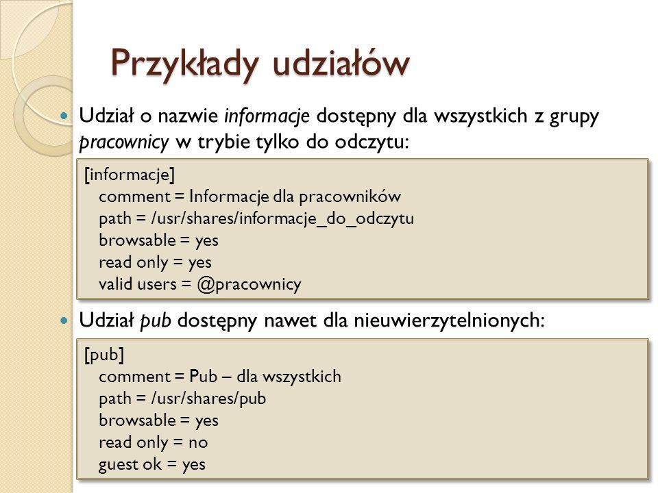 Przykłady udziałówUdział o nazwie informacje dostępny dla wszystkich z grupy pracownicy w trybie tylko do odczytu: