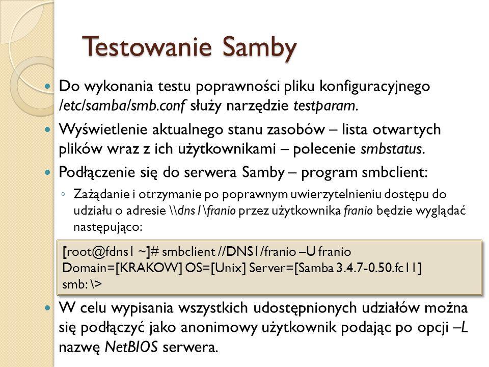 Testowanie SambyDo wykonania testu poprawności pliku konfiguracyjnego /etc/samba/smb.conf służy narzędzie testparam.
