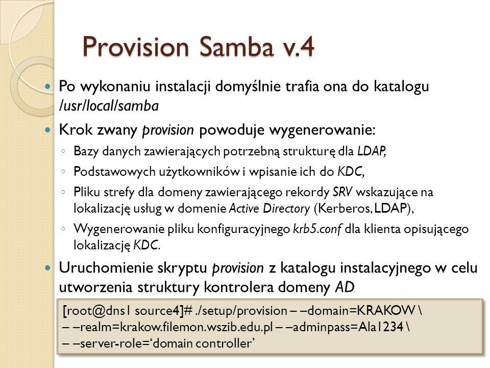 Provision Samba v.4 Po wykonaniu instalacji domyślnie trafia ona do katalogu /usr/local/samba. Krok zwany provision powoduje wygenerowanie: