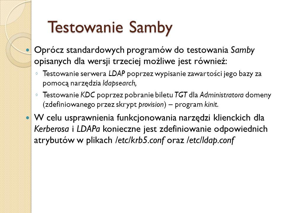Testowanie Samby Oprócz standardowych programów do testowania Samby opisanych dla wersji trzeciej możliwe jest również: