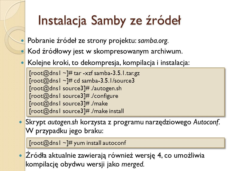 Instalacja Samby ze źródeł