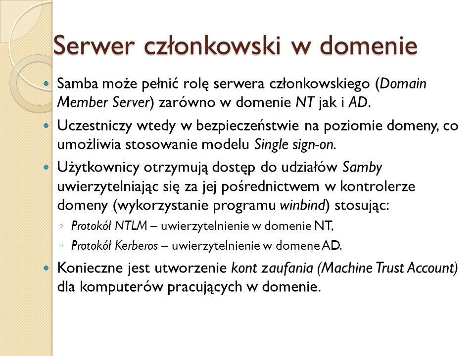 Serwer członkowski w domenie