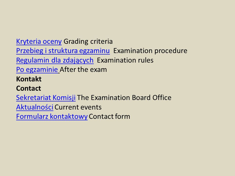 Kryteria oceny Grading criteria