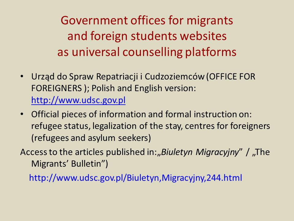 Government offices for migrants and foreign students websites as universal counselling platforms