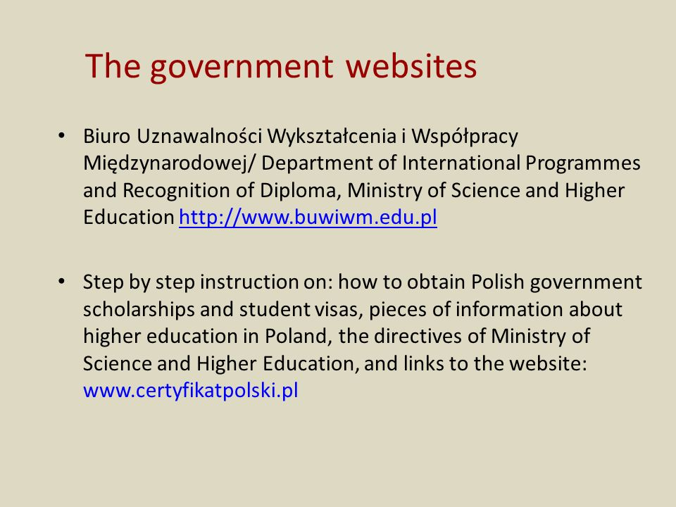 The government websites