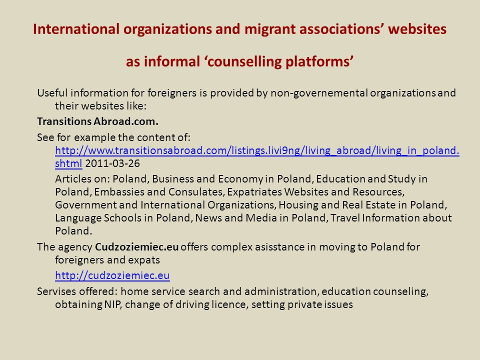 International organizations and migrant associations' websites as informal 'counselling platforms'